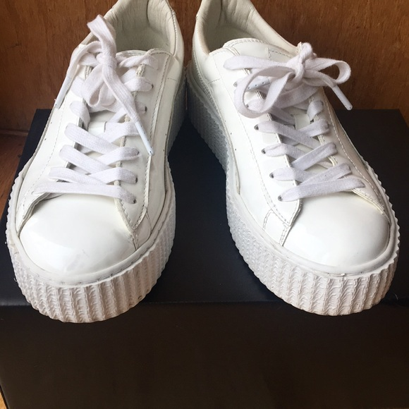 first rate 0cd23 bfe53 White patent platform Fenty Puma sneakers